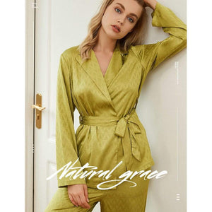 Long sleeve silk home pajamas set