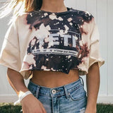 Letter Print Loose Crop Top T-shirt