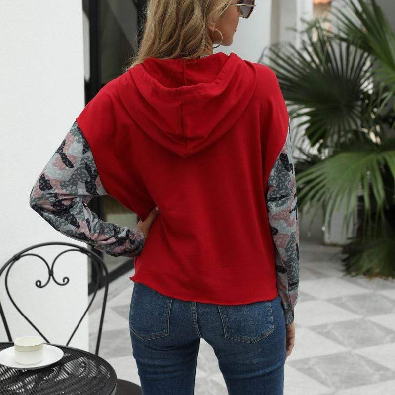 Stitching long-sleeved loose fit sweatshirt
