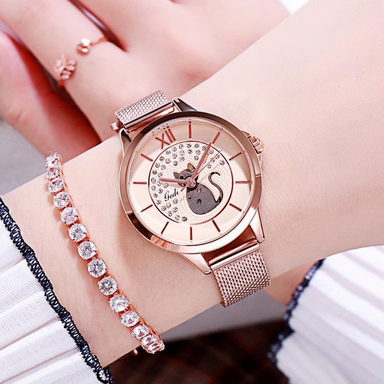 Kitten literally diamond waterproof quartz watch