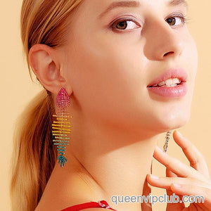 Large eye design zircon tassel drop earrings