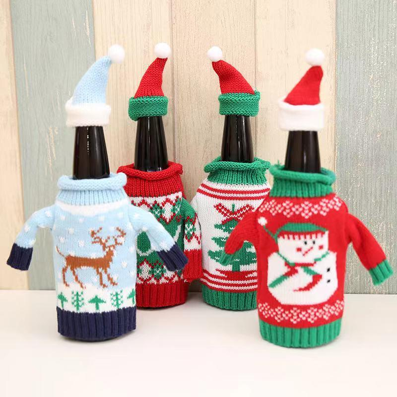 Merry Christmas Home Dressing Supplies - Knitted Wine Bottle Set