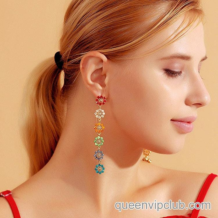 Colorful zircon flower design drop earrings