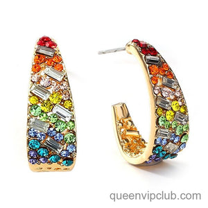 Irregular round earrings with micro-set color zircon