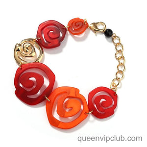 Temperament red flower bracelet