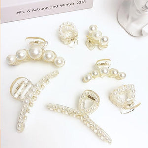 7PCS Elegant Pearls Hair Claw Accessories Cross Crab Headwear