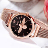 Little bee design mesh belt waterproof female watch