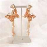 Rhinestone Decorative Butterfly Drop Earrings