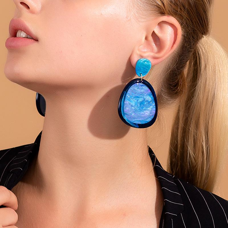 Fashion blue temperament drop earrings