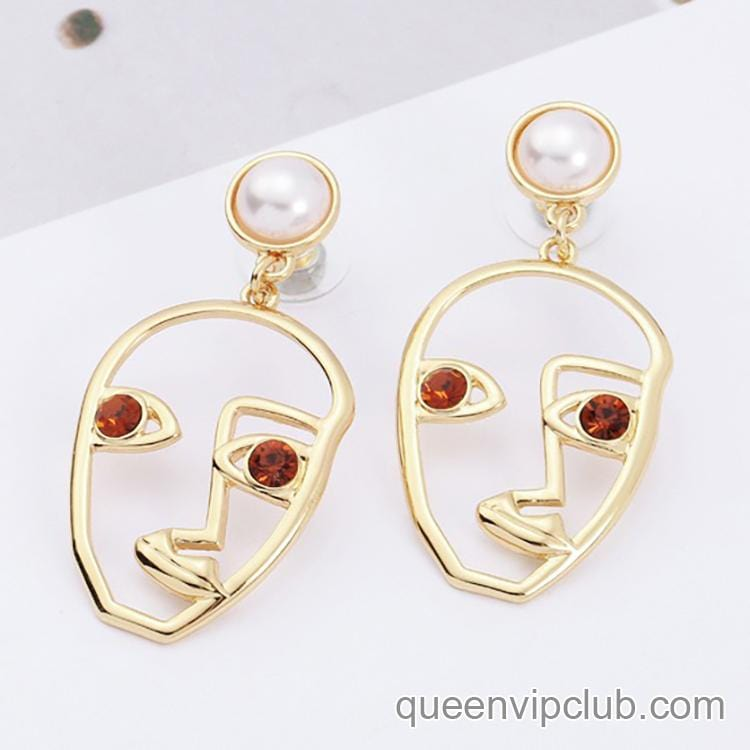 Human face silhouette creative design drop earrings