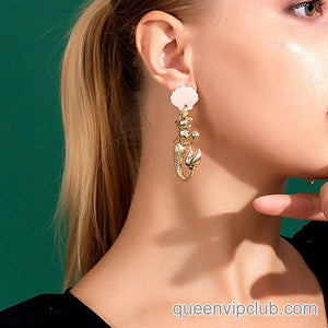 14k mermaid design drop earrings