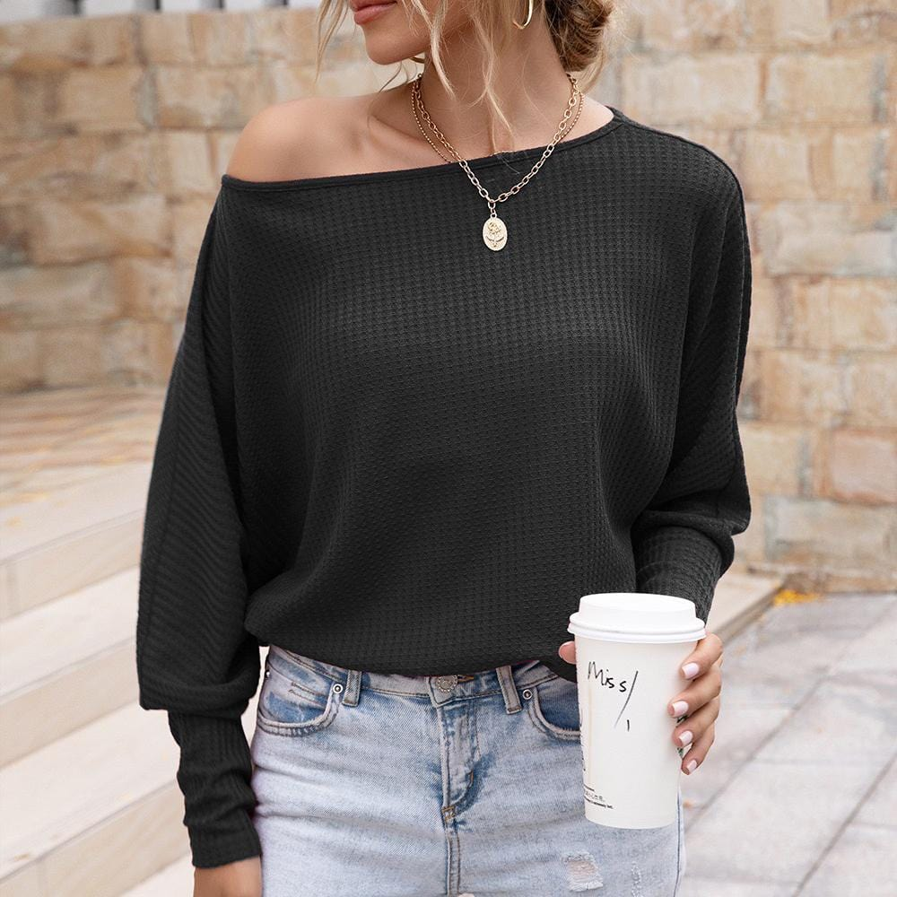 One shoulder women's long sleeve T-shirt