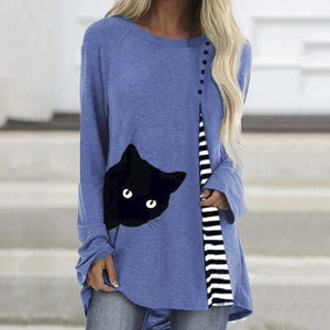 Cat print V-neck long sleeve T-shirt