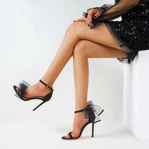 Sexy Bowknot Open-toe Stiletto 12cm High Heels Sandals