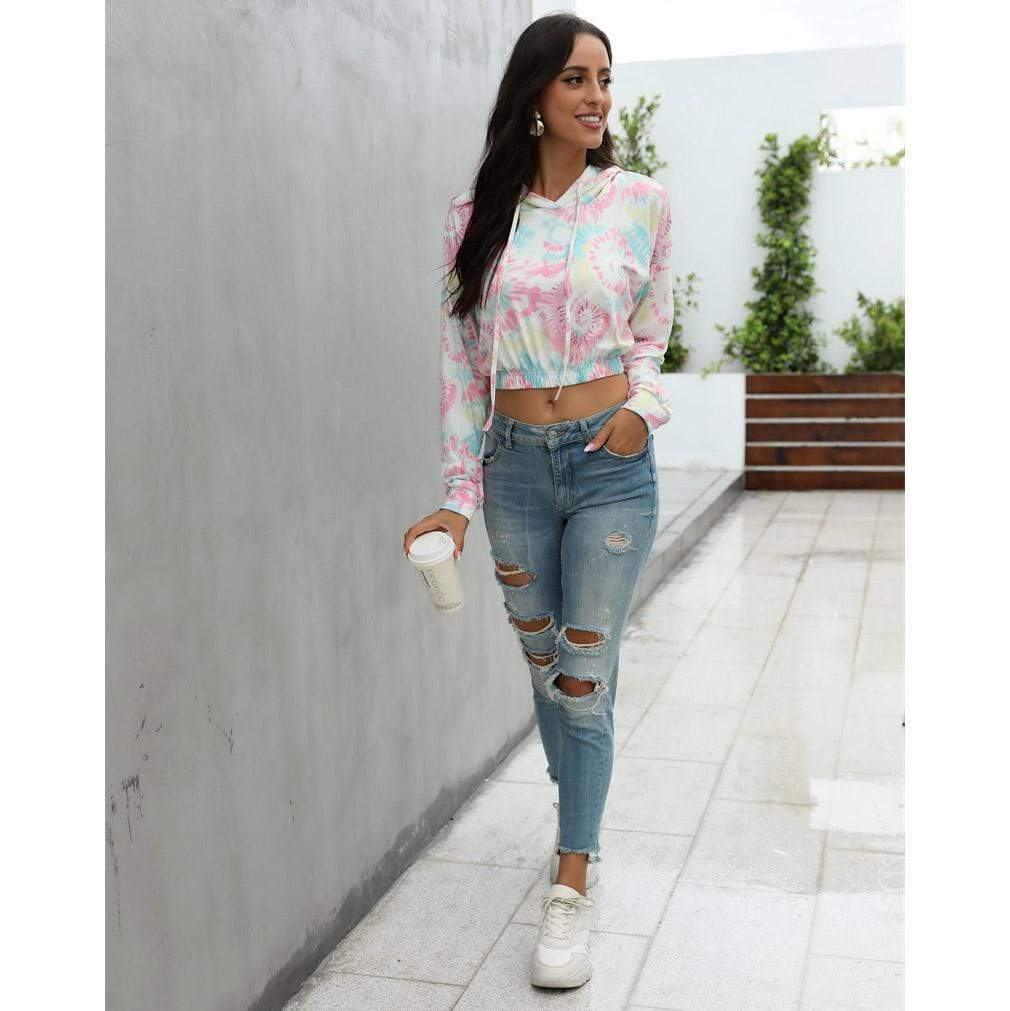 Women's printed long-sleeved casual T-shirt sweater