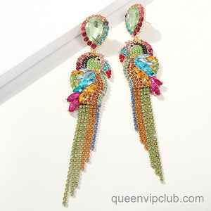 Colorful rhinestone parrot design earrings