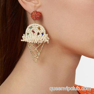 Rhinestone ice cream design earrings