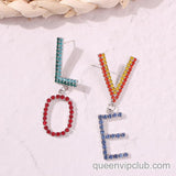 Colorful rhinestone 'LOVE' letter design earrings