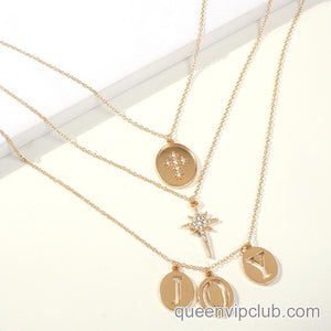 1pc 'joy' Layered Chain Necklace
