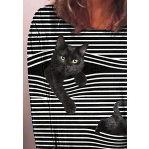 Cat print round neck short sleeve women's T-shirt