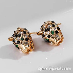 Cheetah stud earrings with rhinestones