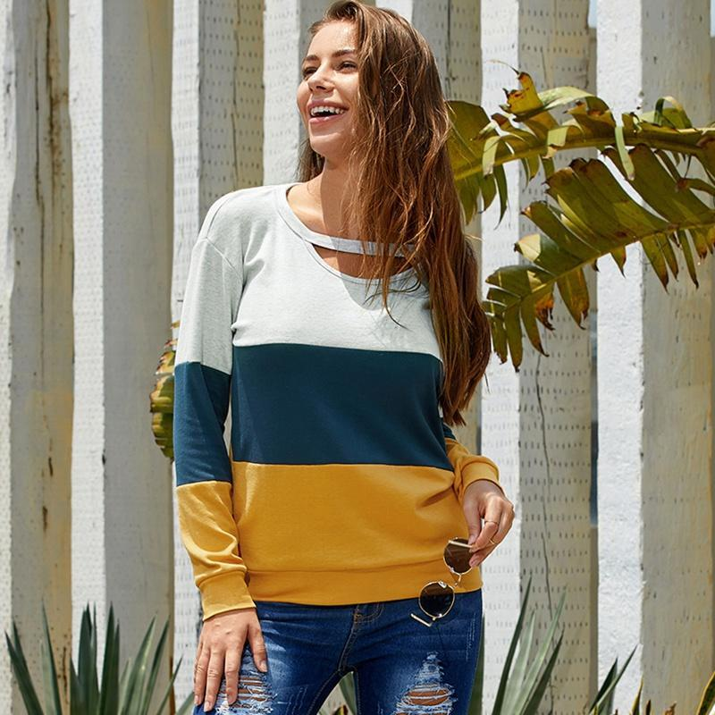 Stylish Color Contrast Hollow-out Long-sleeve Top