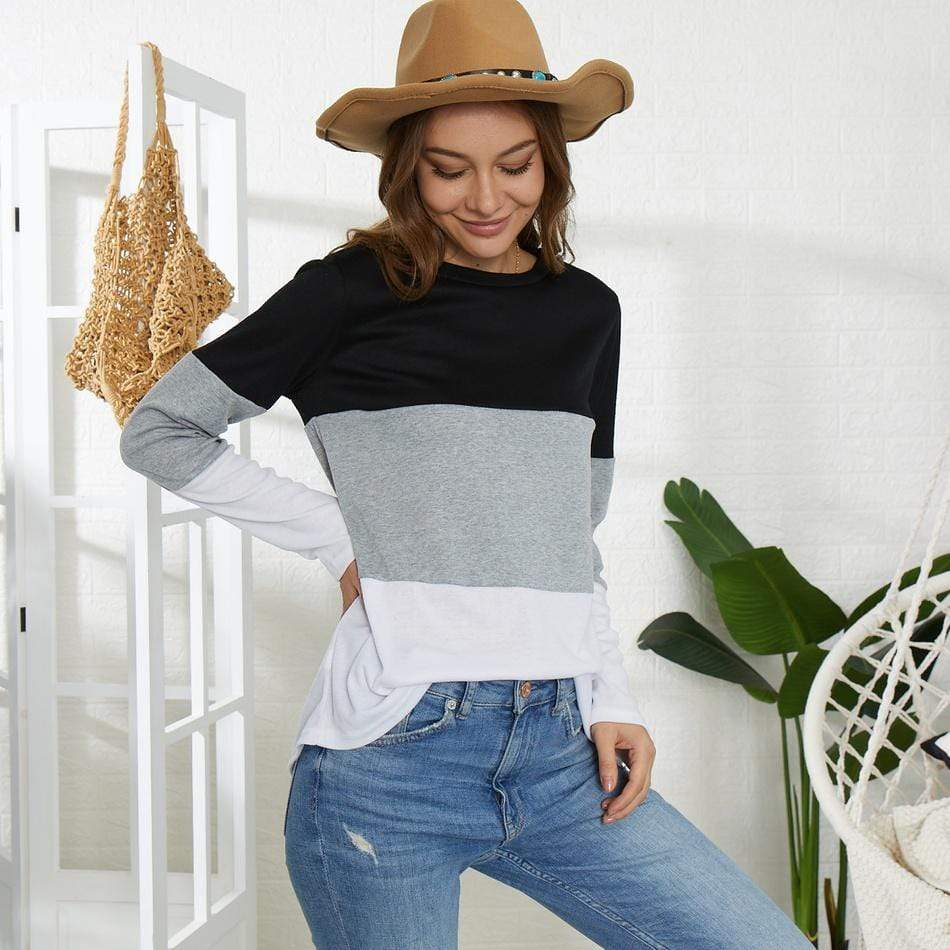 Stylish Color Contrast Long-sleeve Tee