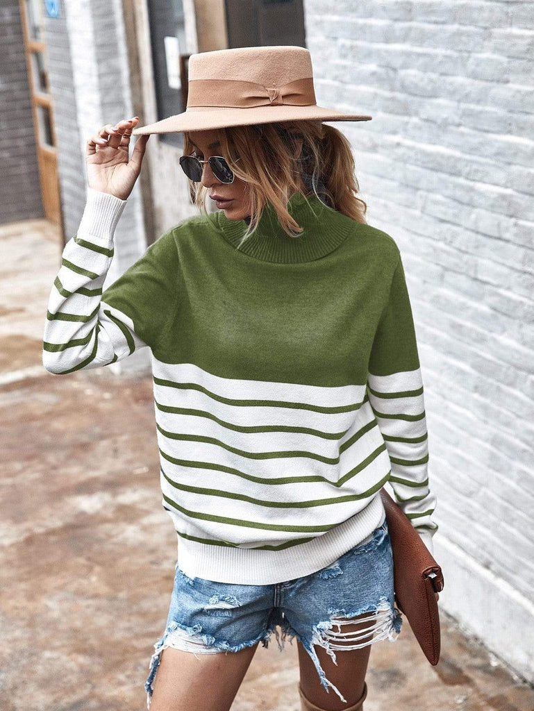 High collar Stripes Color block long sleeve casual Pullovers