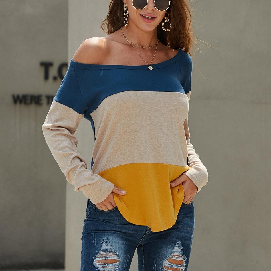Chic Color Blocked Long-sleeve Top