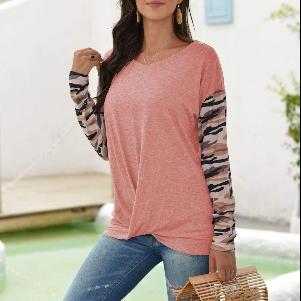 Off Shoulder Camouflage Color block long sleeve casual T-shirt