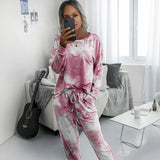 More Festivals casual Tie dye long sleeve Loungewear