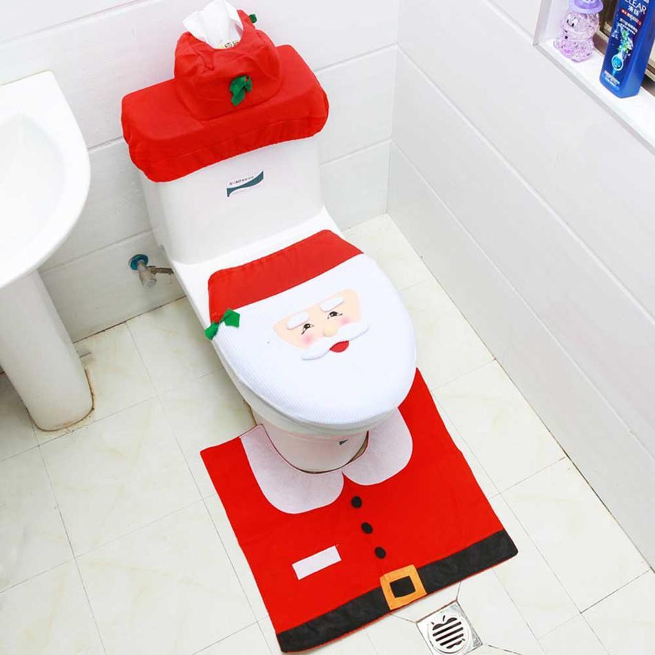 3-piece Christmas Toilet Cover + Water Tank Cover + Paper Towel Cover Set