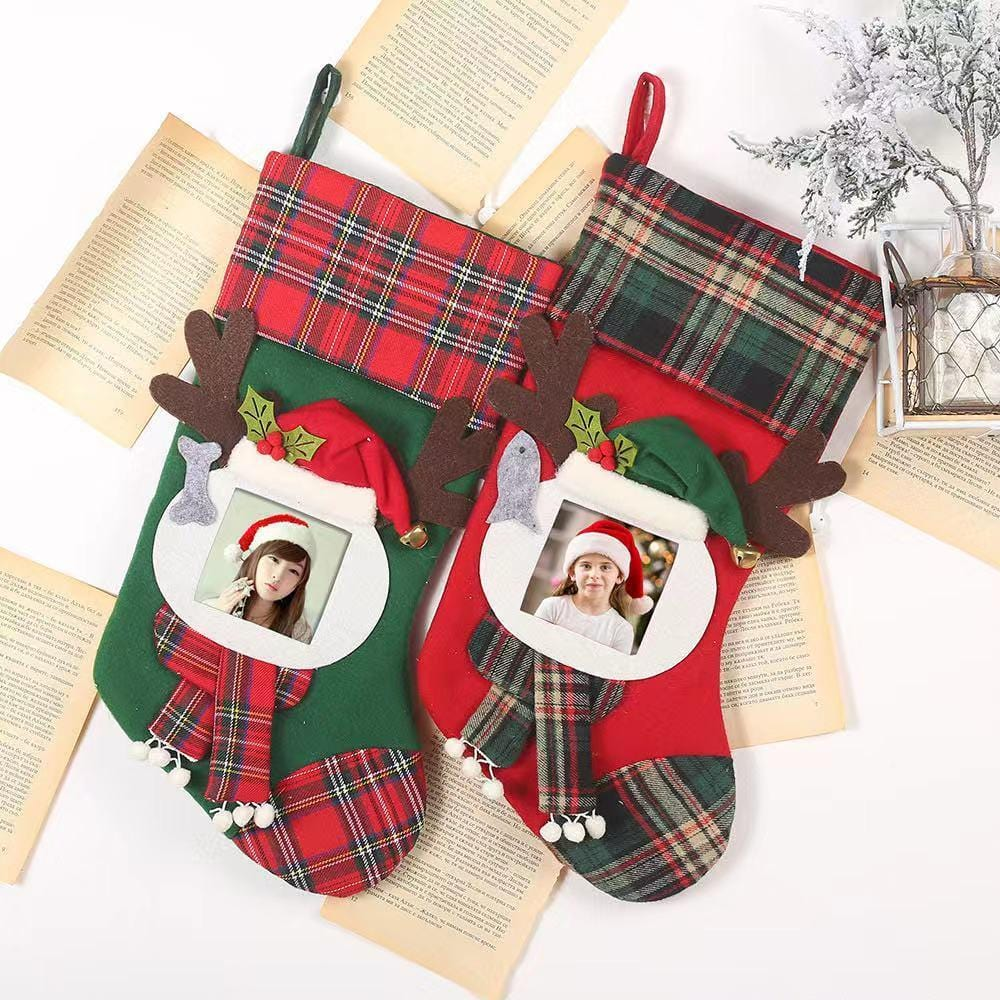 Christmas Decorations - Transparent Photo Frames Plaid Christmas Socks - Candy Bags