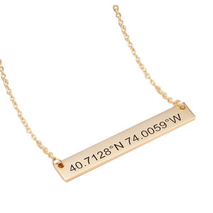 925 Sterling Silver Coordinates Engraved Bar Necklace, Custom Latitude and Longitude Necklace