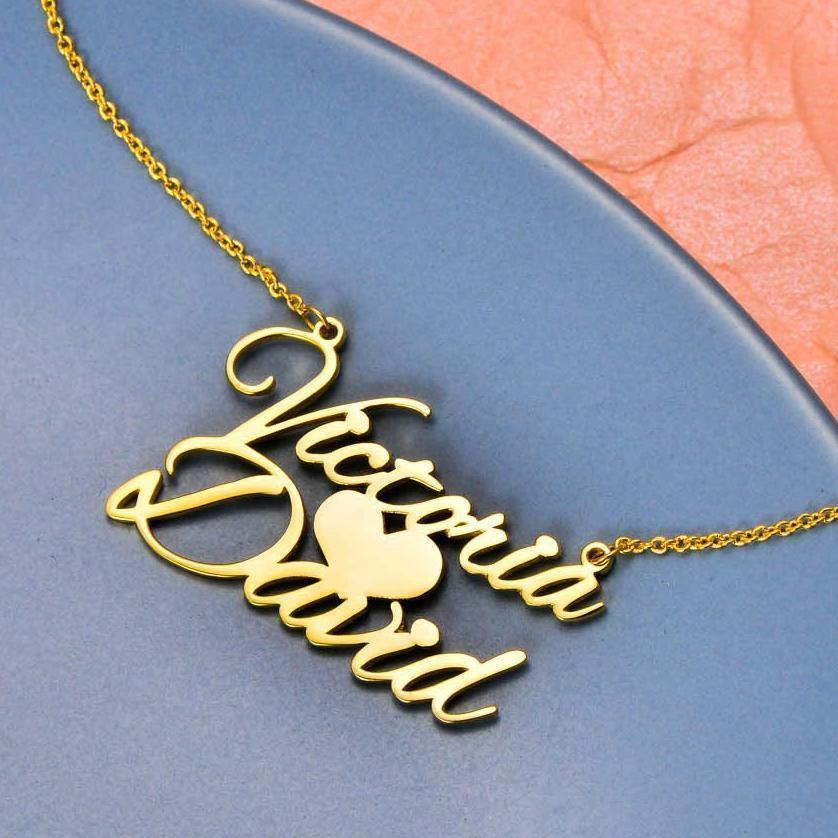 925 Sterling Silver Sweet Love Heart Name Necklace Nameplate Necklace