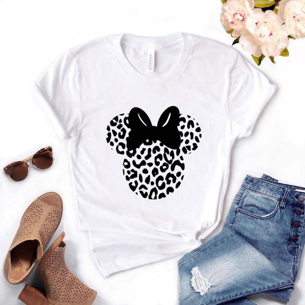 Leopard Mouse Head Print Cotton Casual Tees