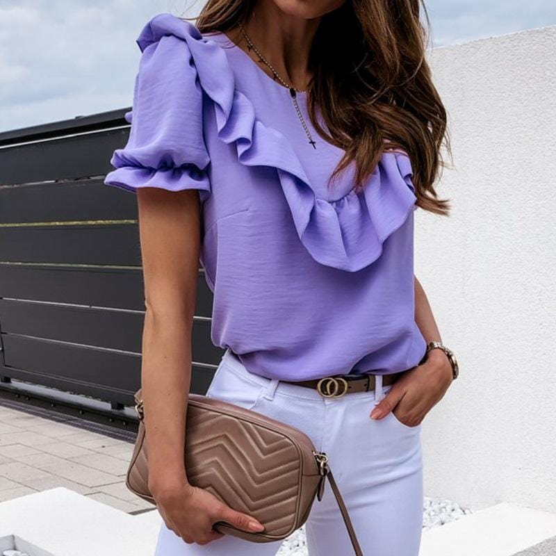 Ruffled Bubble Sleeves Round Neck Tee Blouses