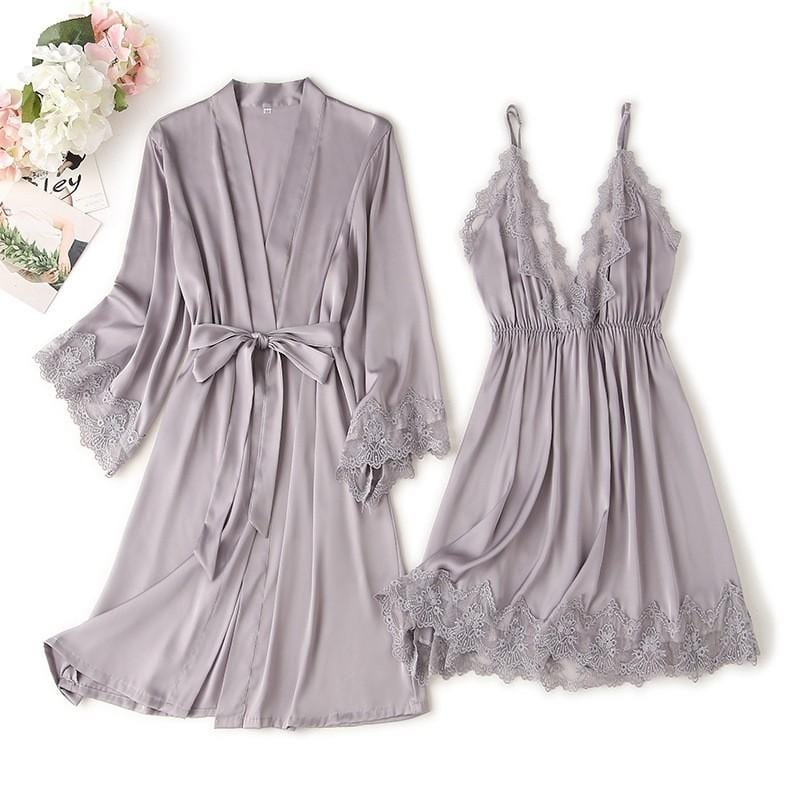 V Neck Lace Trim Lady Robe Pajamas Suit