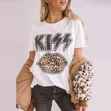 Leopard Lips Kiss Printed Cotton Loose Tee