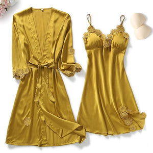 Sexy Lace Trim Silk Nightgown Bathrobe Pajamas Set