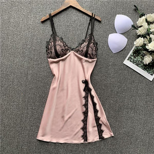 Lace Patchwork Strap Nightdress Pajamas