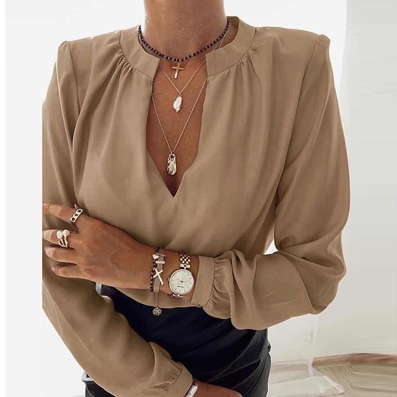 Elegant V-Neck Office Lady Solid Blouses