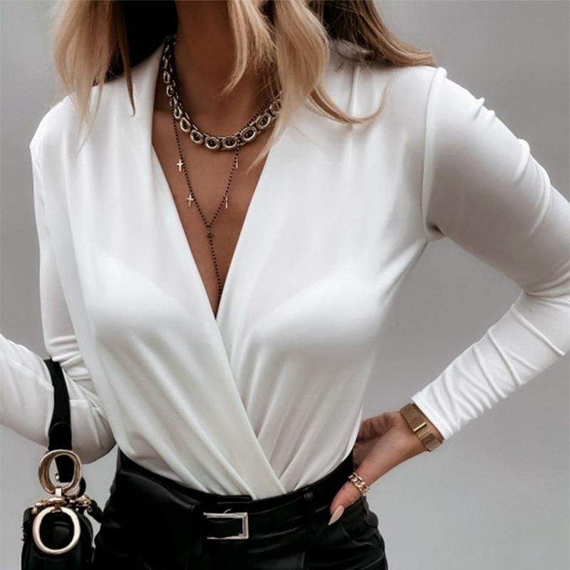 V-Neck Slim Fashion Blouses