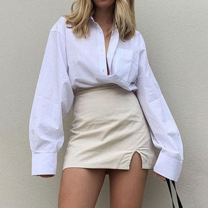 Oversize Button Up Loose Long Blouses