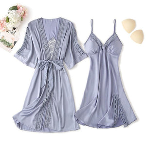 Lace Hollow-out Robe Nightgown Pajamas Set