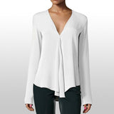 Chiffon V-neck Solid Office Shirt Lady Blouses