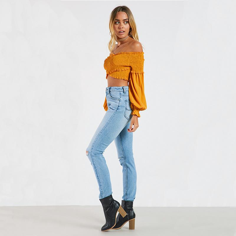 Elastic Flare Sleeve Slash Neck Crop Tops
