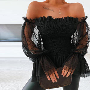 Off Shoulder Mesh Flare Sleeve Lace Blouses