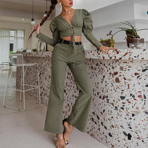 2pcs Puff-sleeve V-neck top and Pants Sets