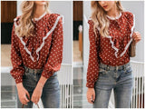 Polka Dot Lace Top Elegant Blouse Shirt